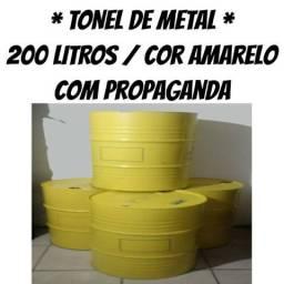 Tambor de Lata - Tonel de Metal - Lixeira de Latão - Bombona de Metal 200 Litros