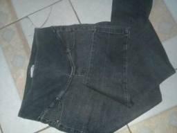 Calça jeans cós alto com elastano pra grávida