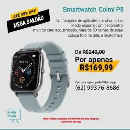 Smartwatch Colmi P8 Pulseira de Silicone Cinza Compatível com IPhone e iOS