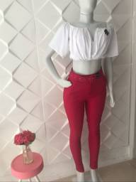 Calça Rosa e Cropped