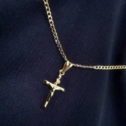 Título do anúncio: Colar Groumet Banhado a Ouro 18k 60cm + Pingente Cruz