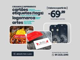 Cartões de visitas, etiquetas tags, criações de artes, logos, a partir de R$ 69,00