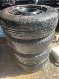 Título do anúncio: Rodas de ferro 14 c pneus furação 4x 100 por 680,00