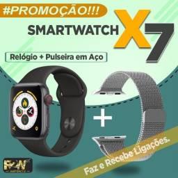 Kit Smartwatch X7 IWO 12 Com Pulseira em Aço