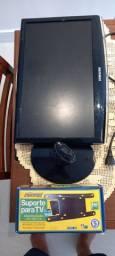 Tv/ monitor Samsung com suporte de mesa quebrado.