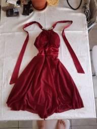 Vestido de festa vinho glitter