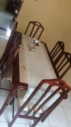 Mesa tampa de mármore 6 cadeiras