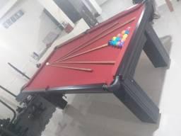 Mesa Madeira Bilhar Cor Preta Tecido Vermelho Mod. RXKX3771