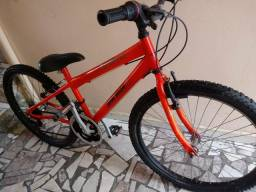 Bicicleta Mountain Bike Mormaii Aro 24, 21v ,aço carbono freios v-brake, Laranja neon