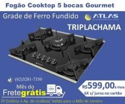 Fogão Cooktop Atlas Goumert 5 bocas Tripla Chama