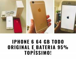 Iphone 6 64 GB TODO ORIGINAL E BATERIA 95% TOPÍSSIMO!
