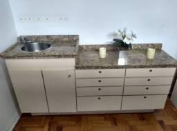 Bancada c/gavetas (8)-Tampas mármore-Pia-2 portas-p/consultórios,clínicas e escritórios