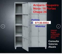 Título do anúncio: Armario Roupeiro 16 PP-16 Portas- Novo- Chapa 26-Empresa Oficina Padaria Industria