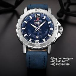 Título do anúncio: Relógio Naviforce Casual, original, importado, Pulseira de Couro Azul