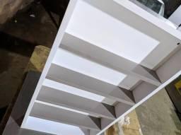 Expositor de esmaltes para salão de beleza MDF, Branco cm Detalhes cinzas