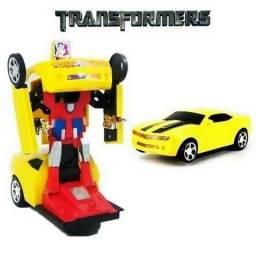 Carrinho Vira Robô Emite Luz Som Transformers