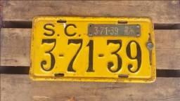 Título do anúncio: Placa De Carro Antiga Com Tarjeta Original Ano 70/71 De Sc!