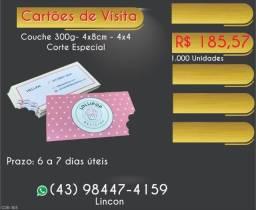 Título do anúncio: Cartões de visita 4x4 corte especial couche 300g