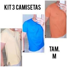 Título do anúncio: 3 Camisetas M Dogville - Amarelo - Azul - Laranja Claro