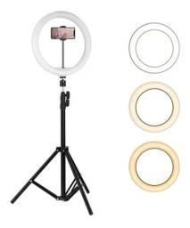 Ring light 26cm iluminador p/ GRAVAÇÕES/FOTOS ETC.<br>+ Tripé 2m