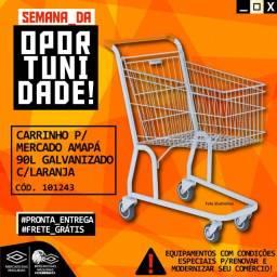 Título do anúncio: Carrinho de Mercado Amapa 90l Galvanizado com Laranja Novo Frete Grátis