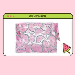 necessaire melancia glitter ou pink translucido