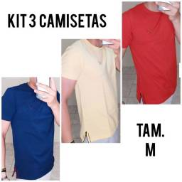 Título do anúncio: 3 Camisetas M Dogville - Azul - Amarelo - Laranja