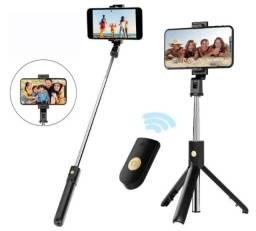 Bastão Vara Pau de Selfie Retrátil Tripé Bluetooth P/ Celular