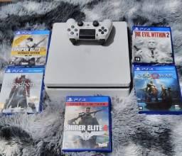 Título do anúncio: PS4 slim com 5 jogos