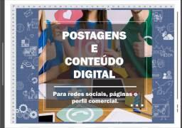 Postagens e conteúdo digital.