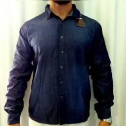 Camisa jeans manga longa , jaqueta jeans ( jeans escovado) alta qualidade