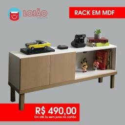 Rack | Em Mdf Branco e Carvalho