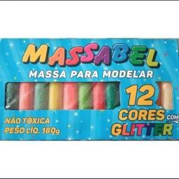 Massa de modelar com Glitter - Massinha MASSABEL 12 cores com Gliter<br>
