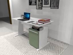 Título do anúncio: Mesa de Escritório. Texturas. Branca com Verde Claro. 140cm x 50cm x 74cm