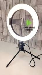 Ring Light Led Completo Iluminador Portátil 20cm Tripé 360°