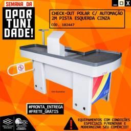 Título do anúncio: Check-Out Polar com kit Automação 2m Pista Esquerda Cinza Novo Frete Grátis
