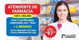 Título do anúncio: Atendente de farmácia.