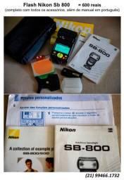 Flash Nikon SB800 completo (todos os acessórios)