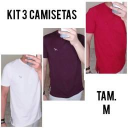 Título do anúncio: 3 Camisetas M Dogville - Branco - Vinho - Vermelho