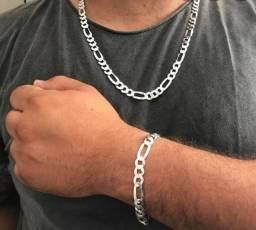 Conjunto pulseira + cordão de prata