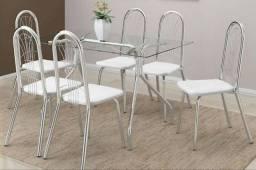 Mesa de vidro - conjunto com 6 cadeiras