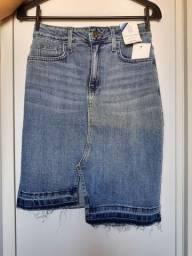 saia lápis jeans Midi irregular tamanho 40 Dicollani denim