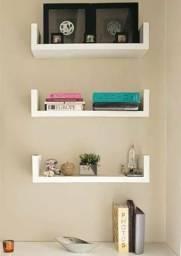 Kit Prateleiras em U 60 cm Branco Nichos Livros 100%Mdf