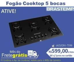 Fogão Cooktop 5 Bocas Brastemp