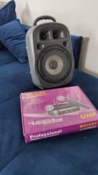 Caixa de som amplificadora bluetooth + Microfone Duplo Sem Fio