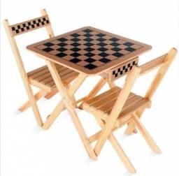 Mesa de Xadrez e Dama com Gaveta - 2 Cadeiras - 5019