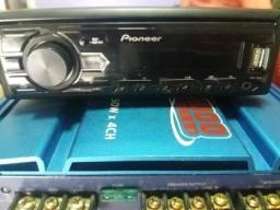Auto rádio pioneer usb auxiliar semi novo mvh 85ub
