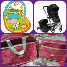 Carrinho c/ bebê conforto, tapete de atividades e bolsa de Maternidade