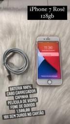 iPhone 7 Rosê 128gb ACEITO CARTÃO
