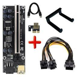 Kit Riser Pci-e V009s Plus 009 e 008+Clip p/Fixação+duplicador 8 pinos p/Rtx 3070 3080